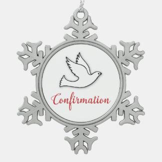De Duif van de Bevestiging van gelukwensen met Tin Sneeuwvlok Ornament