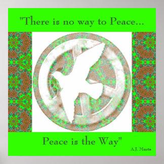 De Duif van de vrede - Poster Mandala - met Quote.
