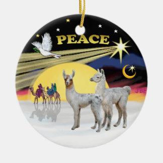 De Duif van Kerstmis - 2 Lama's van het Baby Rond Keramisch Ornament