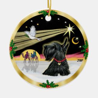 De Duif van Kerstmis - Schots Terrier Rond Keramisch Ornament