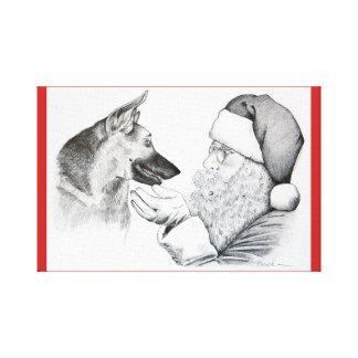 De Duitse herder en de Kerstman vieren Christma Canvas Afdruk