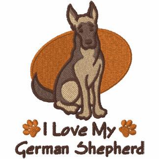 De Duitse herder van de liefde Geborduurde Dames Hoodie Met Rits