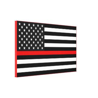 De dunne Rode Amerikaanse Vlag van de Lijn Canvas Print