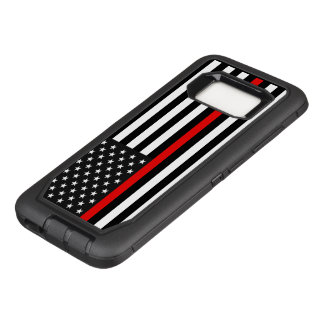 De dunne Rode Amerikaanse Vlag van de Lijn OtterBox Defender Samsung Galaxy S8 Hoesje
