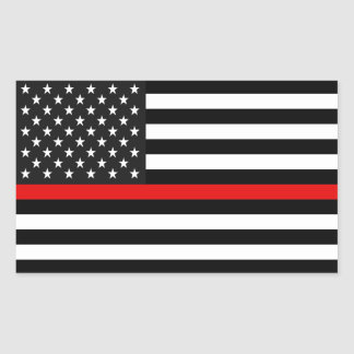 De dunne Rode Amerikaanse Vlag van de Lijn Rechthoekige Sticker