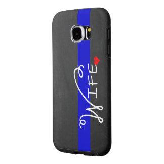 De dunne Vrouw van de Politie van Blue Line Samsung Galaxy S6 Hoesje