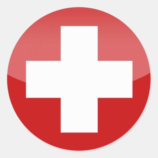 de dwarssticker van Zwitserland Ronde Stickers