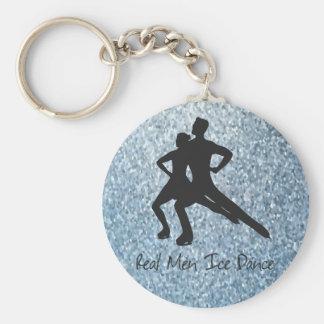 De echte Dans van het Ijs van het Man Basic Ronde Button Sleutelhanger