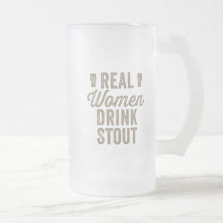 De echte Vrouwen drink Stout Berijpte Stenen Matglas Bierpul