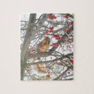 De Eekhoorn van de winter in de Boom van de Bes Puzzel