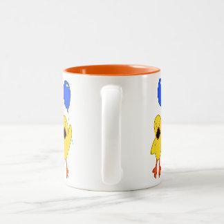 De Eend van de ballon Tweekleurige Koffiemok