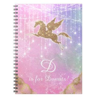 De eenhoorn schittert de Gouden Roze Paarse Brief Notitieboek