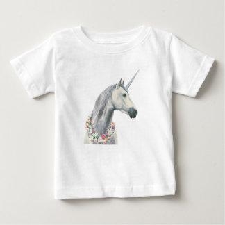 De Eenhoorn van de geest met Bloemen rond Hals Baby T Shirts