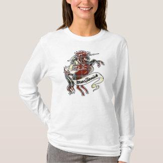 De Eenhoorn van het Geruite Schotse wollen stof T Shirt