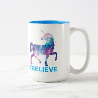 De Eenhoorn van het Patroon van de melkweg gelooft Tweekleurige Koffiemok
