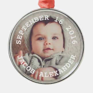 De eenvoudig Zoete Foto van het Baby Zilverkleurig Rond Ornament