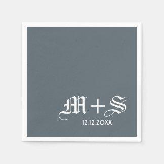 De eenvoudige Elegante Grijze Monogrammen van het Wegwerp Servet
