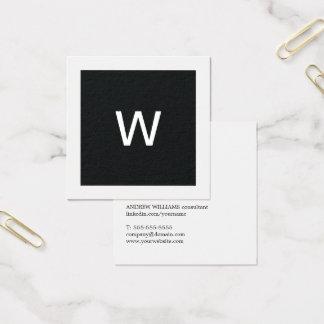 De eenvoudige Elegante Zwarte Witte Adviseur van Vierkant Visitekaartjes