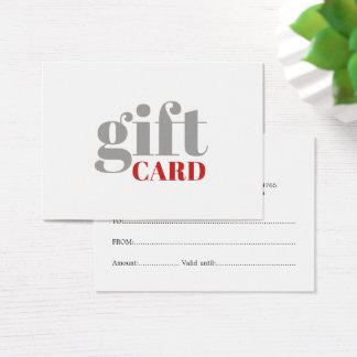 De eenvoudige Grijze Rode Witte Kaart van de Gift Visitekaartjes