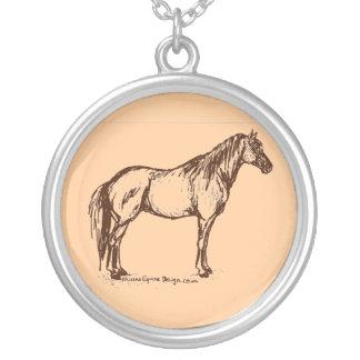 De Eenvoudige Schets van het Paard van het kwart Zilver Vergulden Ketting