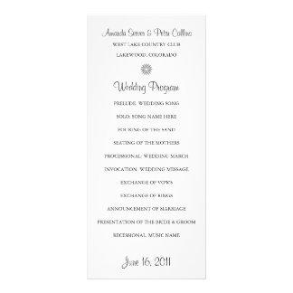 De eenvoudige (Witte) Programma's van het Huwelijk 10,2x 22,9 Cm Reclamekaart