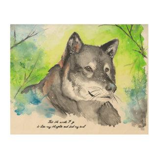 De eenzame Waterverf van de Wolf Hout Afdruk