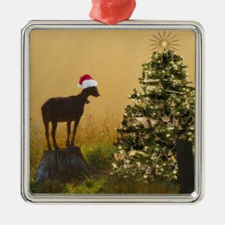 De eenzame Wonderen van de Geit bij Kerstboom Zilverkleurig Vierkant Ornament