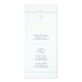 De Eerste Heilige Communie van de jongen 10,2x23,5 Uitnodiging Kaart