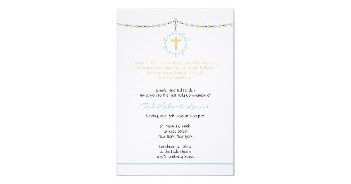 De eerste heilige communie van de jongen 8 9x12 7 uitnodiging kaart zazzle - Opslagkast ruimte van de jongen ...