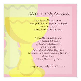 De eerste Miskelk van de Heilige Communie 13,3x13,3 Vierkante Uitnodiging Kaart
