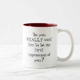 De eerste Mok van de Koffie van Indrukken