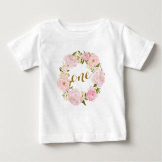 De eerste Roze BloemenT-shirt van de Verjaardag Baby T Shirts