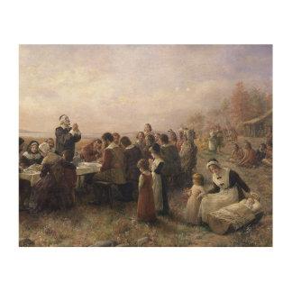 De eerste Thanksgiving in Plymouth door Hout Afdrukken