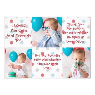 De eerste Verjaardag dankt u kaardt 12,7x17,8 Uitnodiging Kaart