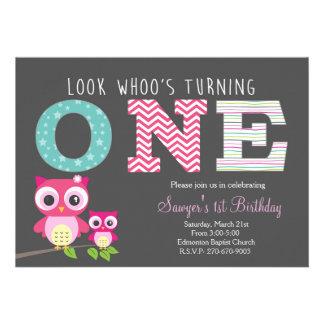De Eerste Verjaardag van de uil - kijk whoo draait 12,7x17,8 Uitnodiging Kaart