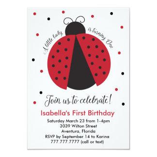 De Eerste Verjaardag van het rode Meisje van het 11,4x15,9 Uitnodiging Kaart