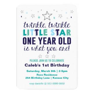 De Eerste Verjaardag van weinig Jongen van de Ster 12,7x17,8 Uitnodiging Kaart