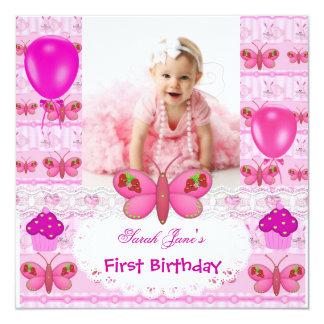 De eerste Vlinder van het Meisje van de Verjaardag 13,3x13,3 Vierkante Uitnodiging Kaart