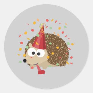 De Egel van de Partij van confettien Ronde Sticker