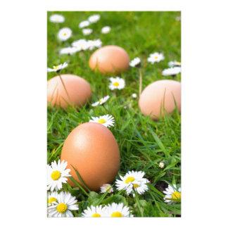 De eieren van de kip in de lentegras met briefpapier