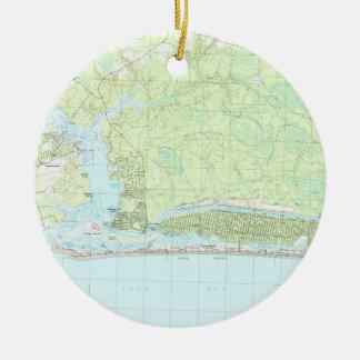 De eiken Kaart van Noord-Carolina van het Eiland Rond Keramisch Ornament