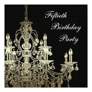 De Elegante 50ste Verjaardag van de gouden Vrouw 13,3x13,3 Vierkante Uitnodiging Kaart