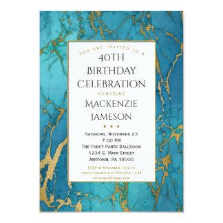 De elegante Blauwe Gouden Marmeren Uitnodiging van