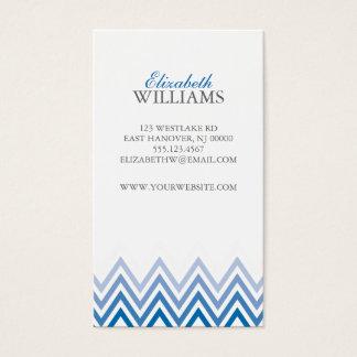 De elegante Blauwe Strepen van de Chevron Ombre Visitekaartjes