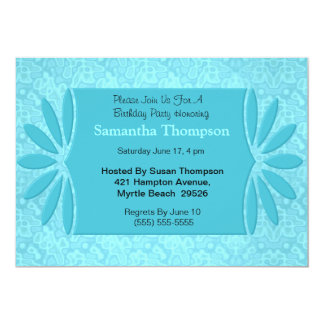 De elegante Blauwe Uitnodigingen van de Verjaardag