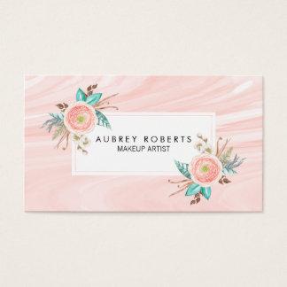 De elegante Bloemen Marmeren Beroeps van de Perzik Visitekaartjes