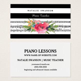 De elegante Bloemen Moderne Muzieknoten van de Visitekaartjes
