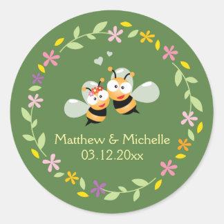 De elegante BloemenGunst van het Huwelijk van de Ronde Sticker