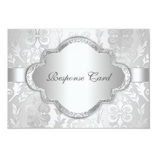 De elegante BloemenWerveling Zilveren RSVP van het 8,9x12,7 Uitnodiging Kaart