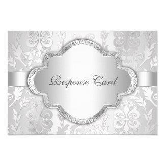 De elegante BloemenWerveling Zilveren RSVP van het